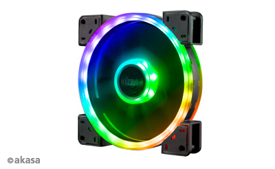 Akasa 14cm TWIN Loop, Dual Sided Addressable RGB LED Fan, Vegas TLY (ASUS Aura, MSI Mystic Light Sync, Gigabyte Fusion, ASRock Cert.)